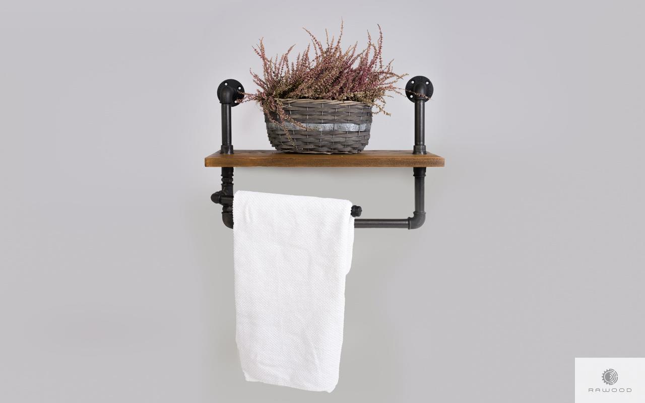 Regal mit Handtuchbügel aus Massivholz für Badezimmer DENAR