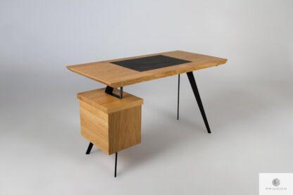 Schreibtisch aus Eichenholz mit Leder auf Metallbeinen VITA find us on https://www.facebook.com/RaWoodpl/