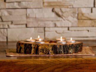 Dekoration aus Holz Wanduhr Kerzenständer Ständer