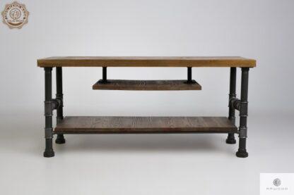 Industrialna szafka stolik RTV z drewna litego do salonu DENAR Producent Mebli RaWood Premium Furniture