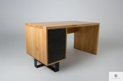 Eiche Schreibtisch mit Schubladen auf Metallbeine MOCCA