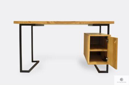 Schreibtisch aus Massiveichenholz und Metall OLIMPIA