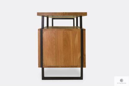 Schreibtisch aus Massiveichenholz mit Metallbeinen HUGON