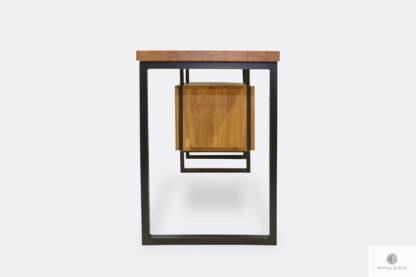 Schreibtisch aus Massivhoz und schwarzer Stahl HUGON