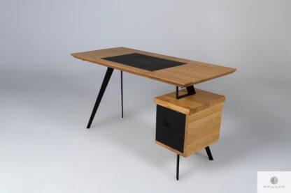Eichenschreibtisch mit Leder auf Metallbeinen VITA Möbelhersteller RaWood Premium Möbel
