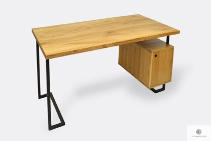 Eiche Schreibtisch mit schwarz Metallbeinen ins Büro OLIMPIA