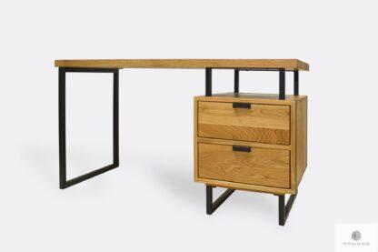 Eiche Schreibtisch mit schwarze Metallbeinen HUGON