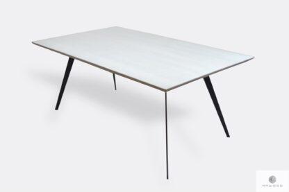 Eiche Esstisch mit Holztischplatte und schwarz Metallbeinen VITA