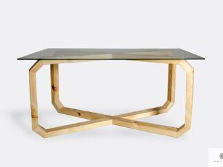 Design Tisch mit Glastischplatte und Holzgestell OMNIS