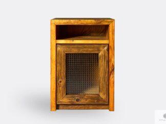 Drewniana szafka nocna ze starego drewna litego do sypialni AMBER