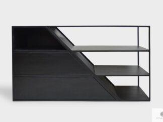 Moderne TV Schrank aus Massivholz und Stahl ALANO