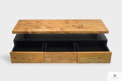 Industrielle TV Schrank mit Schubladen auf Holz ins Wohnzimmer NESCA II