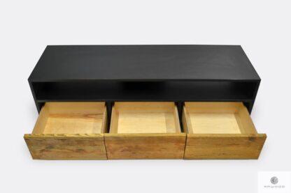Industrielle TV Schrank aus Schubladen aus Holz ins Wohnzimmer NESCA I