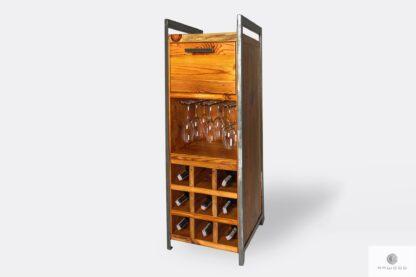 Industrielle Barschrank aus Massivholz mit Glashaltern