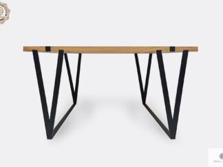 Industrieller Tisch aus Massiveichenholz auf Metallbeinen NERON