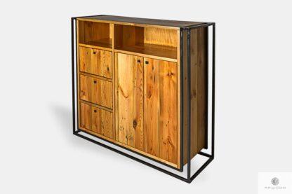 Loft Kommode aus natur Holz und Stahl ins Wohnzimmer
