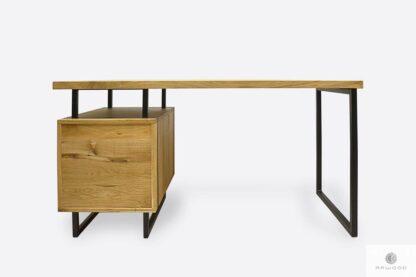 Nowoczesne biurko dębowe z metalowymi nogami do gabinetu HUGON