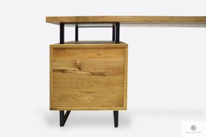 Nowoczesne biurko z dębowego drewna z metalowymi nogami HUGON