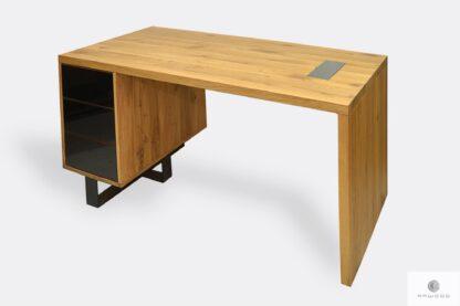 Modern Schreibtisch aus Massivholz uns Stahl mit Schubladen MOCCA