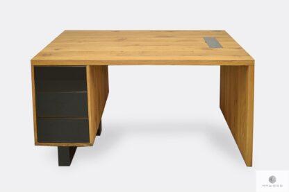 Solide und massiv Schreibtisch aus Massivholz und Stahl MOCCA