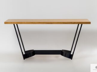 Stół z dębowego drewna litego na metalowej podstawie FOSTER