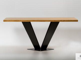 Tisch mit Eiche Tischplatte auf Metallbein ins Esszimmer TOSCA