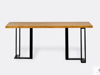 Eichentisch mit solide Tischplatte und Metallgestell SNAKE