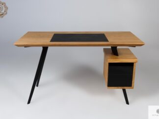 Designer Eiche Schreibtisch auf Metallbeinen ins Büro VITA Mobelhersteller RaWood Premium Mobel