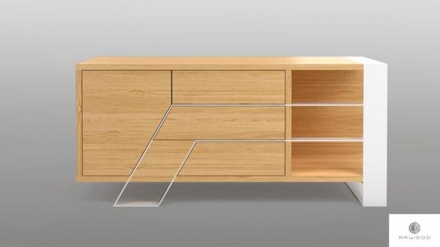 Moderner Eichenfernsehschrank auf Metallbeinen ins Wohnzimmer BORA finden Sie uns auf https://www.facebook.com/RaWoodpl/