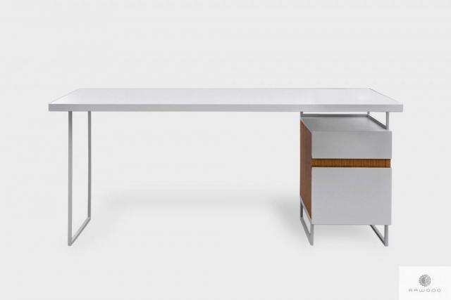 Modern weiß Schreibtisch mit Massivholz auf Metallbeinen DORIS