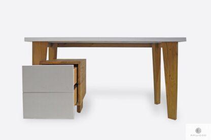 Weiß Holzschreibtisch mit Schubladen ins Büro GRAND