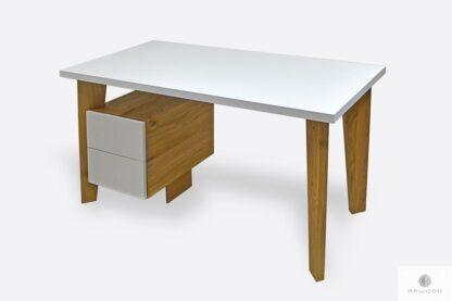 Design Eiche weiß Schreibtisch mit Schubladen GRAND