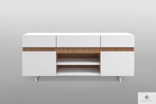 Moderne weiße TV Schrank mit Massivholz auf Metallbeinen ins Wohnzimmer DORIS Mobelhersteller RaWood Premium Mobel