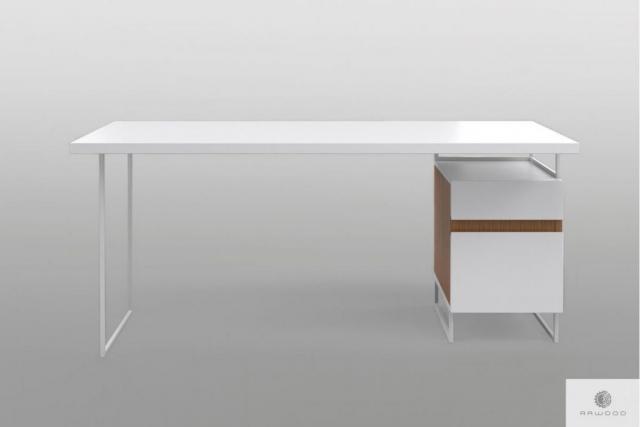 Moderner weißer Schreibtisch mit Massivholz auf Metallbeinen DORIS Mobelhersteller RaWood Premium Mobel