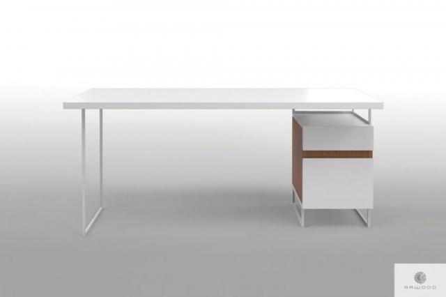 Moderner weißer Schreibtisch mit Massivholz auf Metallbeinen DORIS finden Sie uns auf https://www.facebook.com/RaWoodpl/
