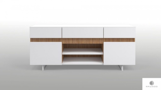 Moderne weiße TV Schrank mit Massivholz auf Metallbeinen ins Wohnzimmer DORIS finden Sie uns auf https://www.facebook.com/RaWoodpl/