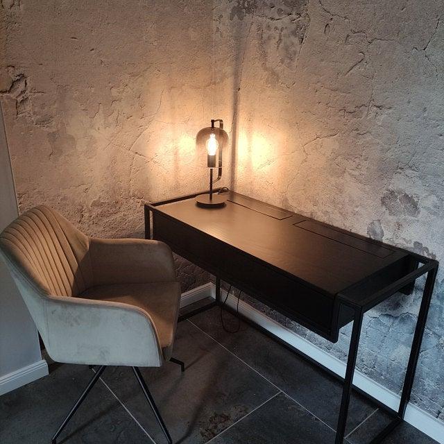 Industrial Schreibtisch loft Konsolentisch aus Holz und Metall mit Schubladen BRAN