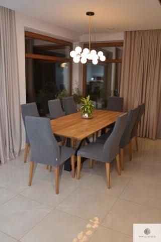 Indutrielle Tisch mit Eiche Tischplatte auf schwarze Metallgestell ins Wohnzimmer BORNEO