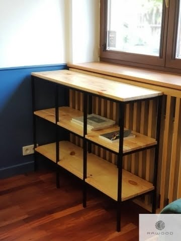 Holz Bücherregal aus Massivholz und Stahl ins Büro