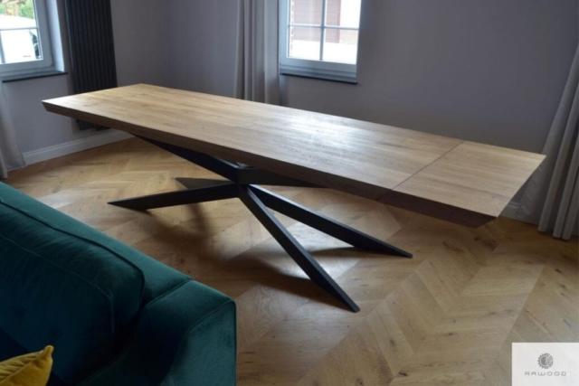 Tisch mit dicke Eiche Tischplatte und Metallbeine X DEVON