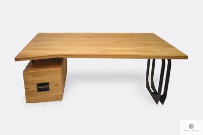 Schreibtisch aus Massivholz uns schwarz Stahl mit Schubladen WALT