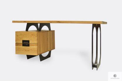 Industrielle Eiche Schreibtisch auf Metallbeinen WALT