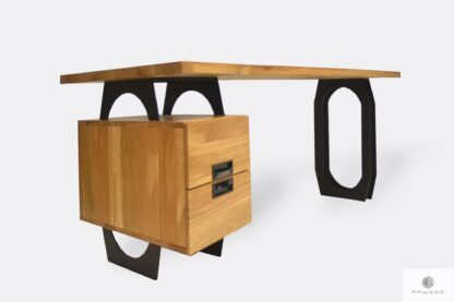 Industrielle Eiche Schreibtisch mit Schubladen und schwarz Metallbeinen WALT