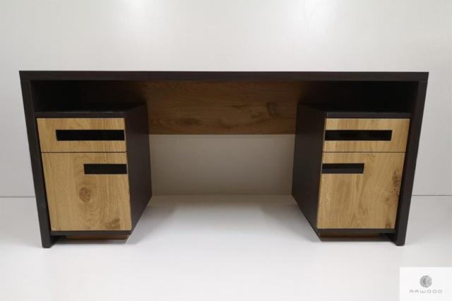 Eiche moderner Schreibtisch aus Massivholz für Büro LAGOS finden Sie uns auf https://www.facebook.com/RaWoodpl/