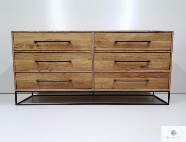 Industrielle Kommode mit Schubladen aus Eichenholz ins Wohnzimmer finden Sie uns auf https://www.facebook.com/RaWoodpl/