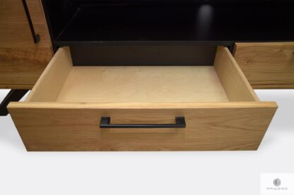 Holz TV Schrank mit Schubladen mit industrielle Griffe JORGEN