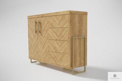 Kommode aus Eichenholz in Fischgrätenmuster ins Wohnzimmer CARIN Mobelhersteller RaWood Premium Mobel