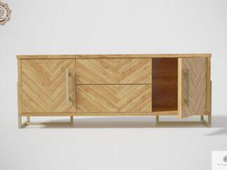 Modern TV Schrank aus Holz mit Fischgrätenmuster ins Wohnzimmer CARIN Möbelhersteller RaWood Premium Möbel