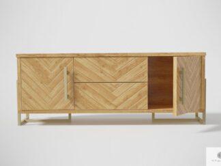 Modern TV Schrank aus Holz mit Fischgrätenmuster ins Wohnzimmer CARIN