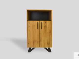 Eiche Bücherregal ins Wohnzimmer aus Massivholz und Metall JORGEN II